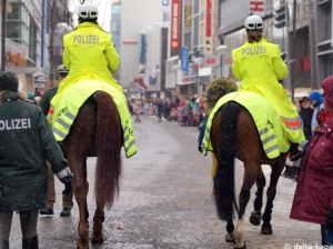Picture in the centre of Cologne from the Carnival February 2010, police on horses