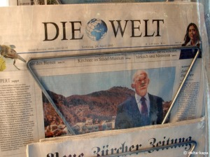 Die Welt 24.4.2010 Georgios Papandreou on the frontpage somwhere under the sun on a Greek Island