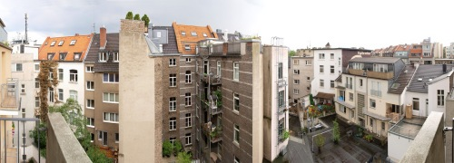 Backyard in Cologne. Panorama shot in Cologne